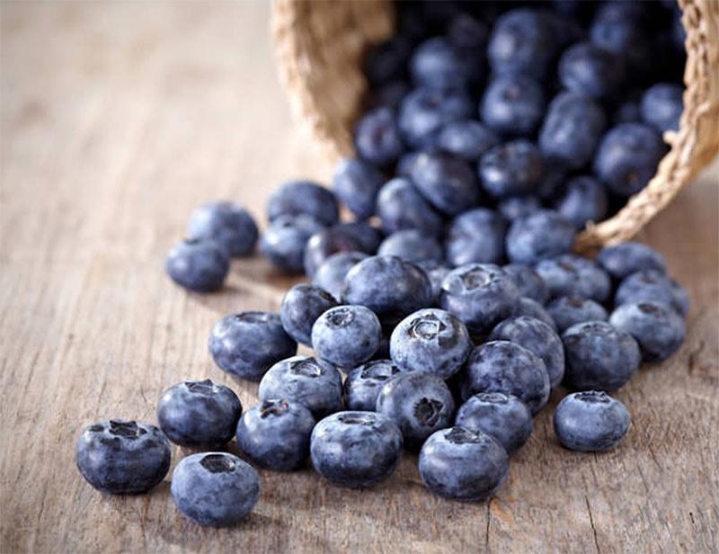 Basket full of blueberries tipped over